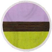 Lavender Brown Olive Round Beach Towel
