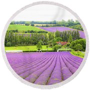 Lavender Farms In Sevenoaks Round Beach Towel
