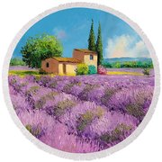 Lavender Fields In Provence Round Beach Towel