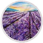 Lavender Fields Round Beach Towel