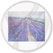 Lavender Fields Provence-france Round Beach Towel