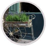 Lavender Flower Cart In Montmarte Paris Round Beach Towel