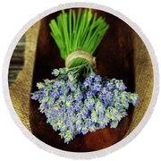 Lavender Flower  Round Beach Towel