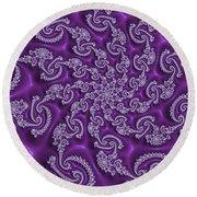 Lavender Fractal  Round Beach Towel
