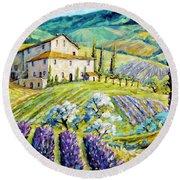 Lavender Hills Tuscany By Prankearts Fine Arts Round Beach Towel
