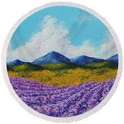 Lavender In Provence Round Beach Towel
