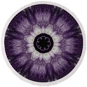 Lavender Iris Round Beach Towel