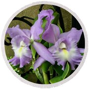 Lavender Orchids Round Beach Towel