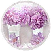 Lavender Peonies White Mason Jars - Romantic Shabby Chic Lavender Purple Peonies Mason Jars Round Beach Towel