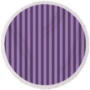 Lavender Purple Striped Pattern Design Round Beach Towel