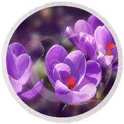 Lavender Spring Round Beach Towel
