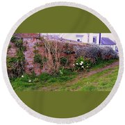 Lavender Wall In England Round Beach Towel
