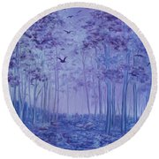 Lavender Woods Round Beach Towel