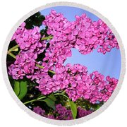 Lavish Lilacs Round Beach Towel