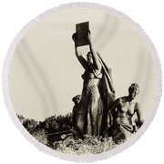 Law Prosperity And Power In Black And White Round Beach Towel