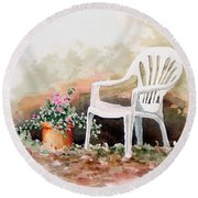 Lawn Chair With Flowers Round Beach Towel