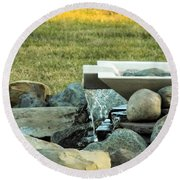 Lawn Water Feature Round Beach Towel
