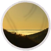 Layer Of Fog Over Colorado Springs Round Beach Towel