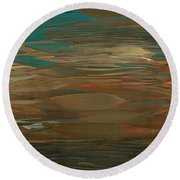 Layered Teal Sunset Round Beach Towel