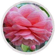 Layers Of Pink Camellia - Digital Art Round Beach Towel