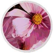 Layers Of Pink Cosmos - Digital Art Round Beach Towel