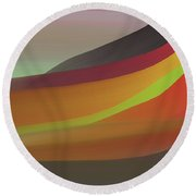 Layers Of Red, Brown, Green Round Beach Towel