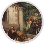 Lazarus And The Rich Man 1865 Round Beach Towel