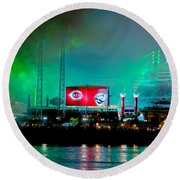 Laser Green Smoke And Reds Stadium Round Beach Towel