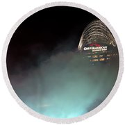 Laser Light Smoke And Great American Round Beach Towel