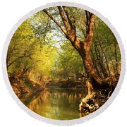Lazy Afternoon On The Creek 2 Round Beach Towel