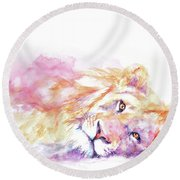 Lazy Days - Lion Round Beach Towel