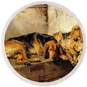 Lazy Moments Round Beach Towel by John Sargent Noble