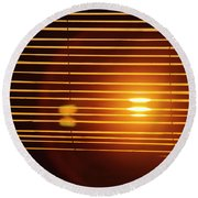 Lazy Summer Afternoon With Sunset View Through The Wooden Window Shades Round Beach Towel