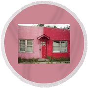Lazy U Motel - Pink And Red Round Beach Towel