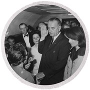 Lbj Taking The Oath On Air Force One Round Beach Towel