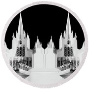 Lds - Twin Towers 2 Round Beach Towel