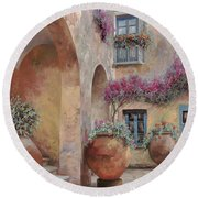 Le Arcate In Cortile Round Beach Towel by Guido Borelli