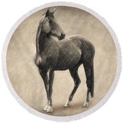 Le Cheval Round Beach Towel