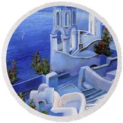 Le Chiese Blu Round Beach Towel