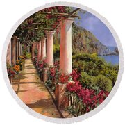 Le Colonne E La Buganville Round Beach Towel by Guido Borelli