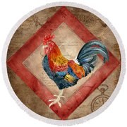 Le Coq - Timeless Rooster  Round Beach Towel