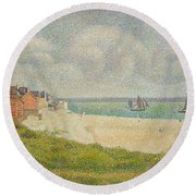 Le Crotoy Looking Upstream Round Beach Towel