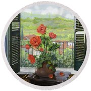 Le Persiane Sulla Valle Round Beach Towel by Guido Borelli
