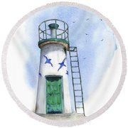 Le Phare Round Beach Towel