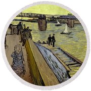 Le Pont De Trinquetaille In Arles Round Beach Towel by Vincent Van Gogh