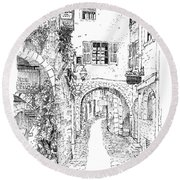 Le Pontis Saint-paul De Vence France Round Beach Towel
