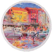 Le Port De St Tropez Round Beach Towel by Peter Graham