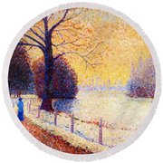 Le Puy In The Snow 1889 Round Beach Towel
