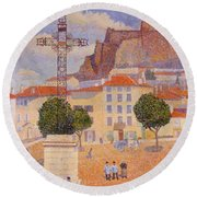 Le Puy The Sunny Plaza 1890 Round Beach Towel