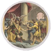 Le Roi, Le Milan, Et Le Chasseur (the King, The Kite, And The Hunter) Round Beach Towel